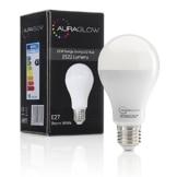 LED Tageslichtlampe als Glühbirne vor einer schwarzen Verpackung.