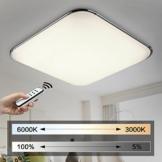 Tageslichtlampe für Deck, viereckig mit abgerundeten ecken. Davor eine Hand mit Fernbedienung